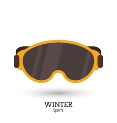 Winter sport yellow mask ski icon vector