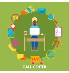 Call center support with operator and icon set vector