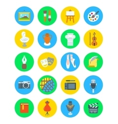 Art and crafts flat round icons set vector