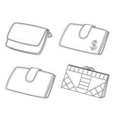 Leather wallets set contour vector