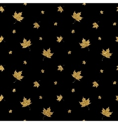 Gold leaf maple seamless pattern vector