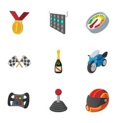 Championship formula 1 icons set cartoon style vector