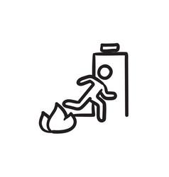 Emergency fire exit door sketch icon vector