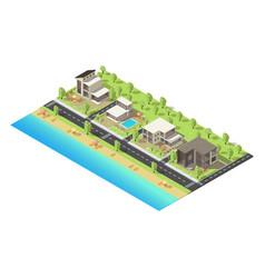 Isometric coastal suburban buildings concept vector