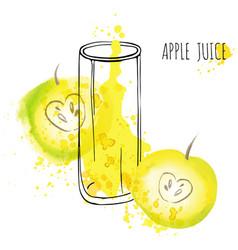 apple juice splash watercolor vector image