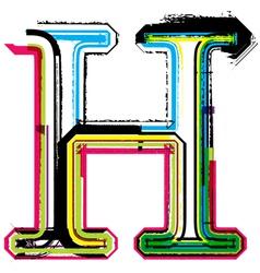 Grunge colorful font Letter H vector image
