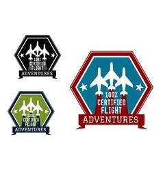 Flight adventures emblem or label vector image
