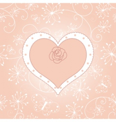 Vintage floral heart with rose vector