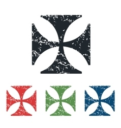 Maltese cross grunge icon set vector