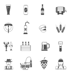 Beer icons black set vector