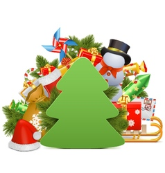 Christmas concept with paper tree vector