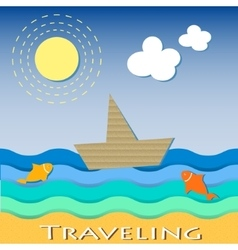 Cardboard boat sailing and traveling vector
