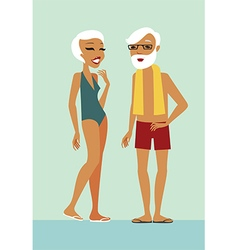 Seniors in swimming pool vector