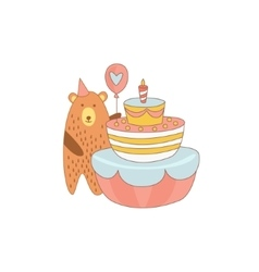 Bear and a giant birthday cake vector