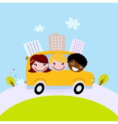 Cute kids in school bus on the hill vector