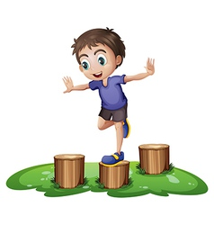 A young boy above the stump vector image