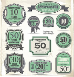 Anniversary badges and labels retro design vector image vector image