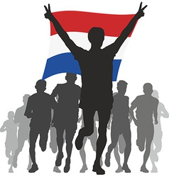 Athlete with the Netherlands flag at the finish vector image vector image