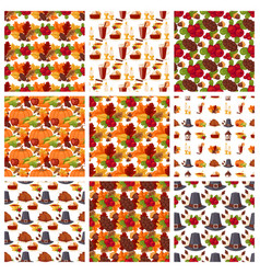 autumn berries seamless pattern vegetarian vector image vector image