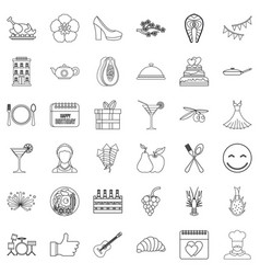 Banquet icons set outline style vector