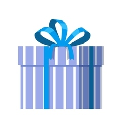 Blue gift box with blue ribbon vector