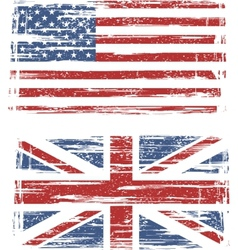 British and American grunge flags vector image vector image