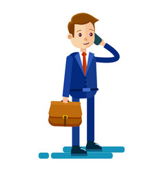 cartoon businessman talks by phone vector image