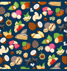 cartoon color nuts background pattern on a blue vector image vector image