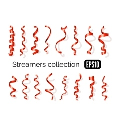 Collection of red streamers and party ribbons vector