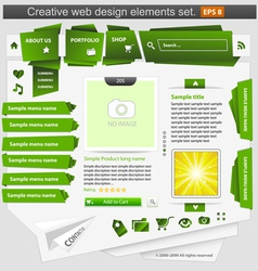 creative web design elements set green vector image vector image