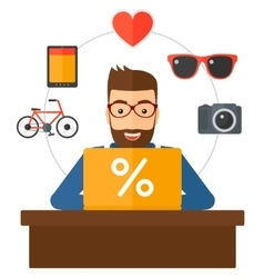 Customer with laptop vector image vector image