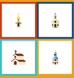 Flat icon church set of church religion building vector