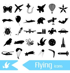 Flying theme theme symbols and icons set eps10 vector