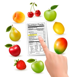 Fresh fruit with a nutrition facts label and hand vector image vector image