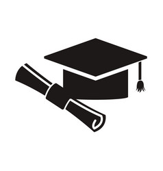 graduation hat and diploma success school icon vector image