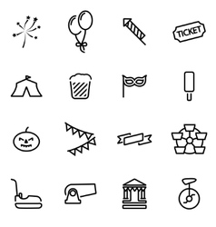 line carnival icon set vector image