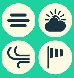 Nature icons set collection of flag haze sun vector