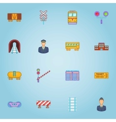 Railroad icons set cartoon style vector