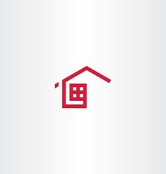 Red icon home house real estate symbol sign vector
