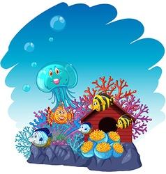 Sea animals swimming underwater vector image