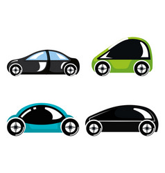 Set futuristic modern car vehicles innovation vector