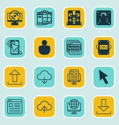 Set of 16 online connection icons includes send vector