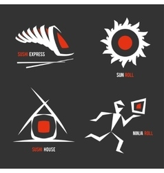set of logos for sushi business vector image