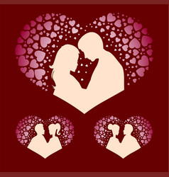 Silhouettes of boy and girl with hearts set vector