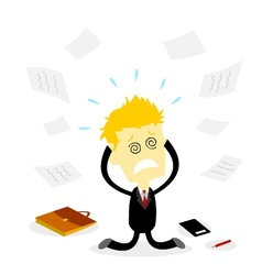 Stressed Bussiness Man Holding Head vector image vector image