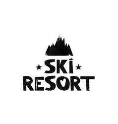 the ski resort advertising logo mountain resort vector image