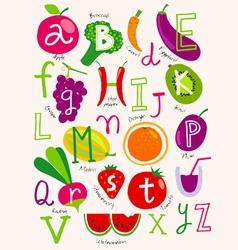 vegetarian alphabet vector image vector image