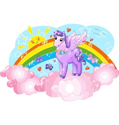 Violet Pegasus in the sky with rainbow vector image vector image