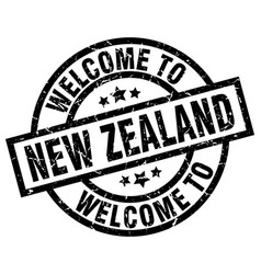 Welcome to new zealand black stamp vector