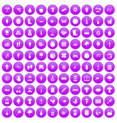 100 farming icons set purple vector